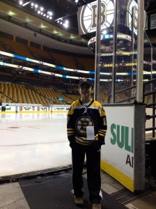 In front of the ice before the game