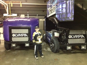 In front of the Zambonis before the game