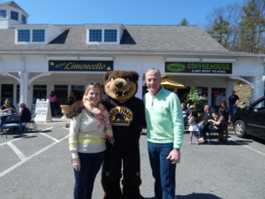 State Representatives Danielle Gregorie and Harold Naugton, Jr. with Bruins mascot, Blades