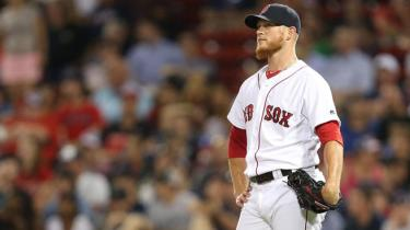 Jul 5, 2016; Boston, MA, USA; Boston Red Sox relief pitcher Craig Kimbrel (46) reacts after giving up a home run against the Texas Rangers during the ninth inning at Fenway Park. Mandatory Credit: Mark L. Baer-USA TODAY Sports
